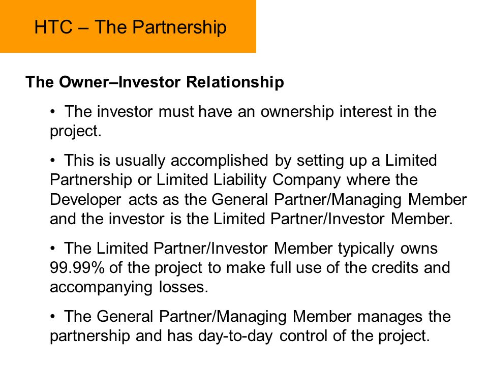 HTC – The Partnership The Owner–Investor Relationship