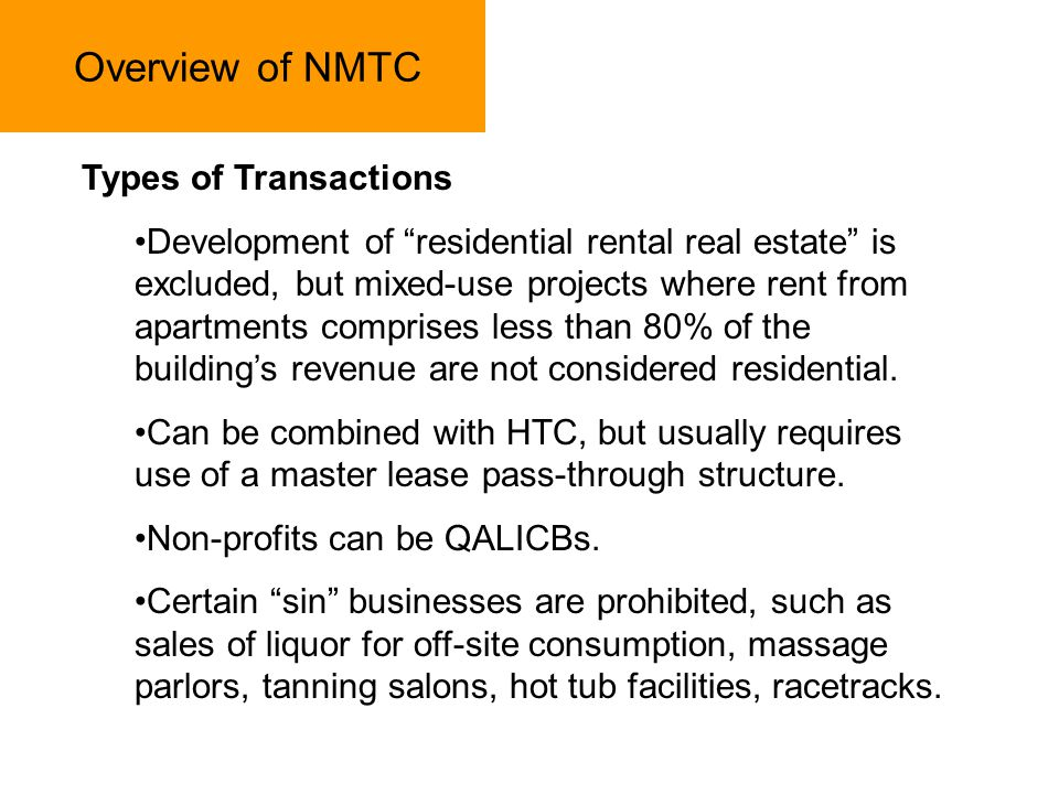 Overview of NMTC Types of Transactions