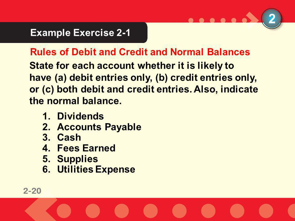 2 Example Exercise 2-1 Rules of Debit and Credit and Normal Balances