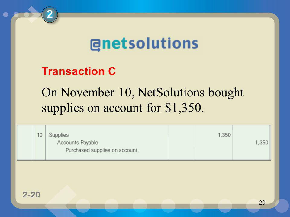 On November 10, NetSolutions bought supplies on account for $1,350.