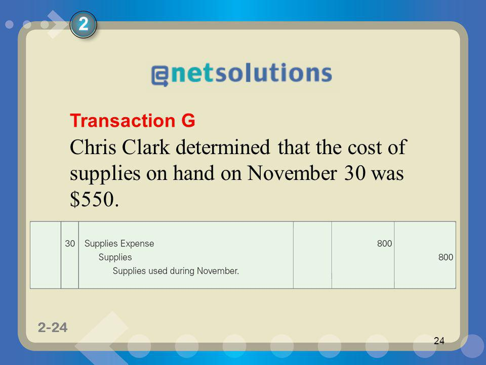 2 Transaction G Chris Clark determined that the cost of supplies on hand on November 30 was $550.