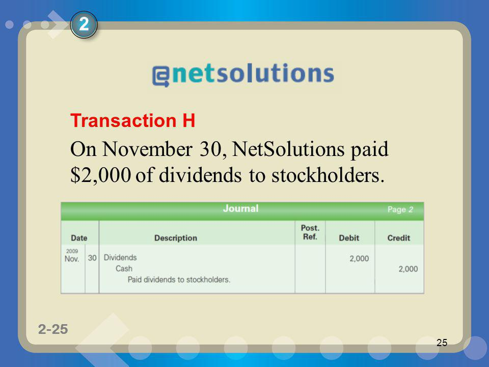 On November 30, NetSolutions paid $2,000 of dividends to stockholders.