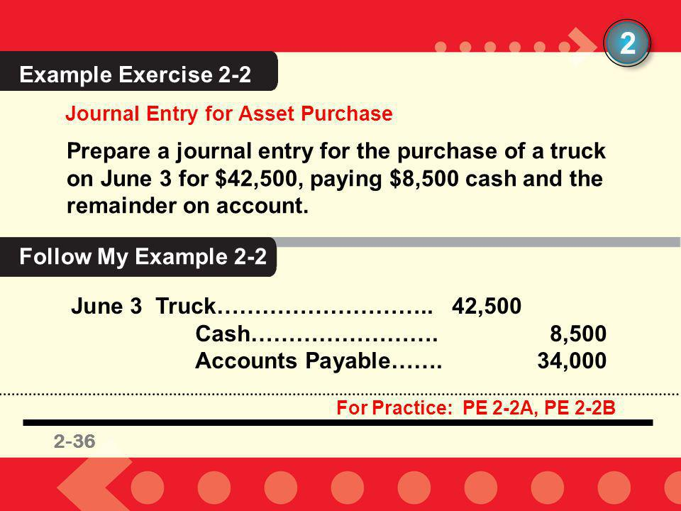 2 Example Exercise 2-2. Journal Entry for Asset Purchase.