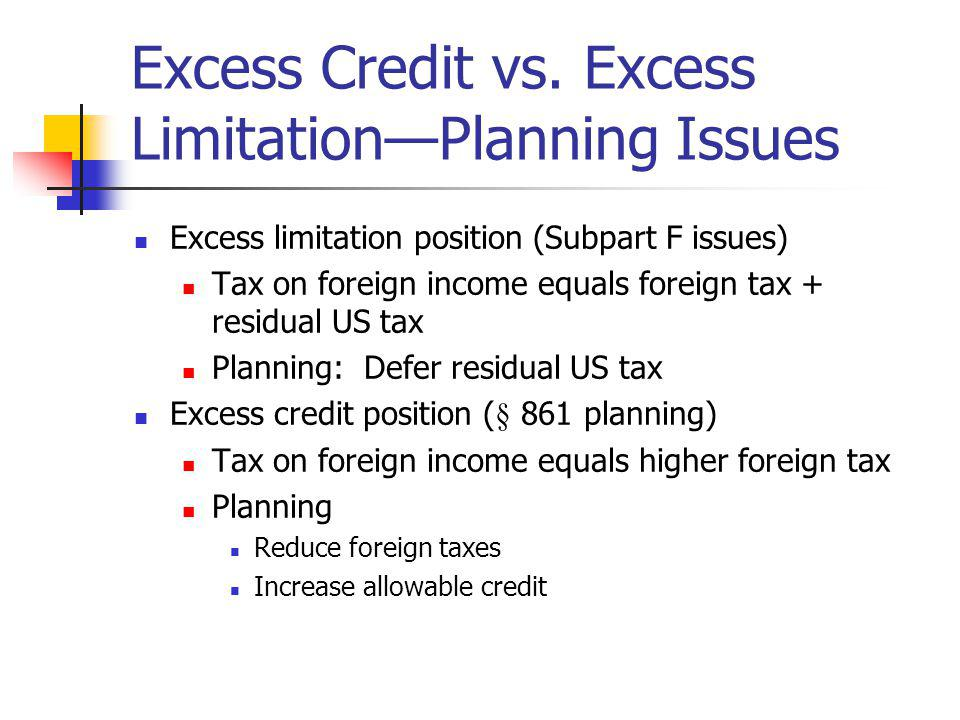 Excess Credit vs. Excess Limitation—Planning Issues
