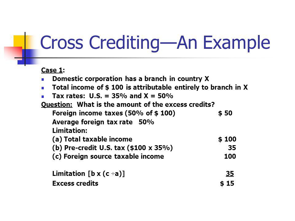 Cross Crediting—An Example