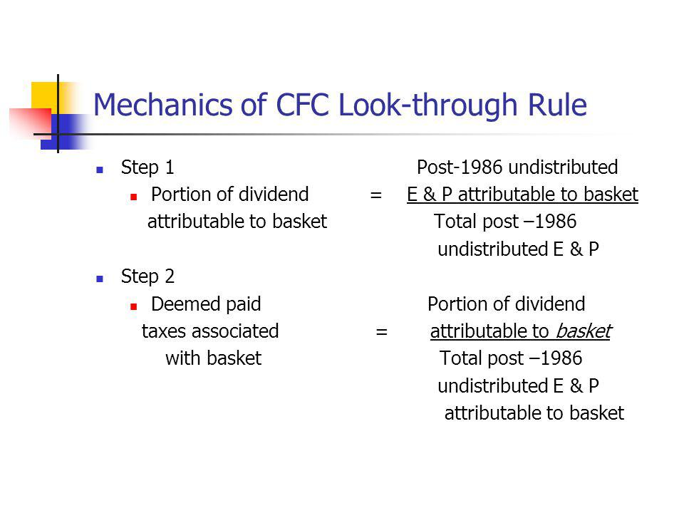Mechanics of CFC Look-through Rule