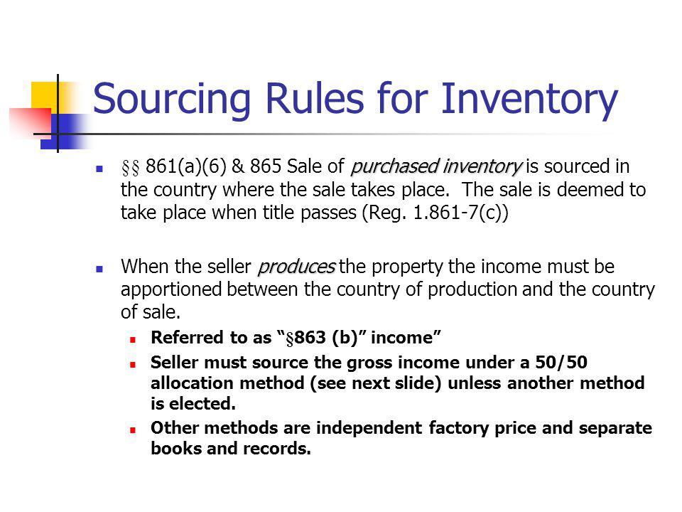 Sourcing Rules for Inventory