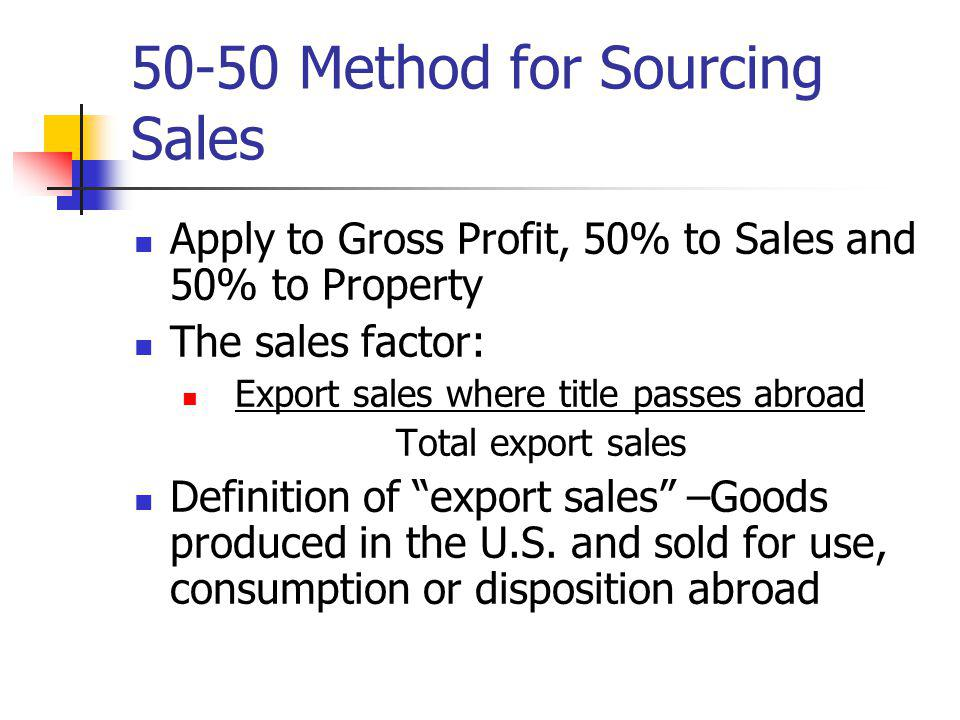 50-50 Method for Sourcing Sales