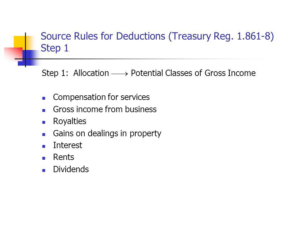 Source Rules for Deductions (Treasury Reg. 1.861-8) Step 1