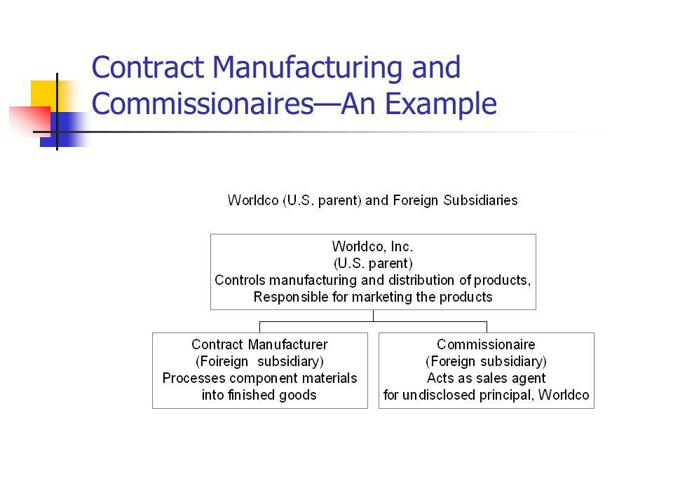 Contract Manufacturing and Commissionaires—An Example