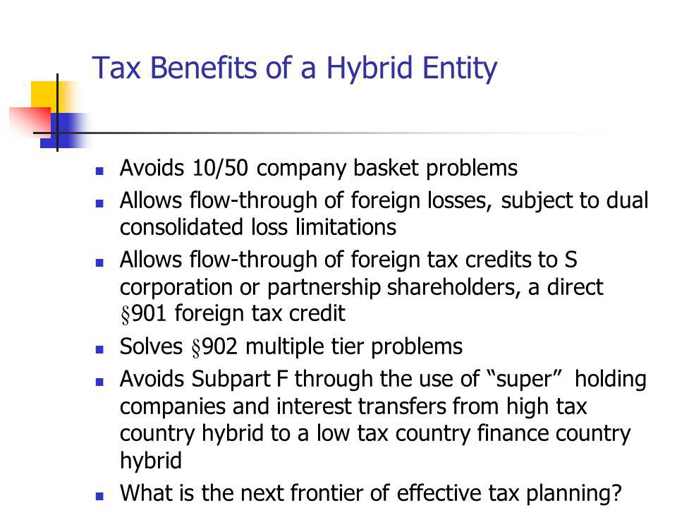 Tax Benefits of a Hybrid Entity