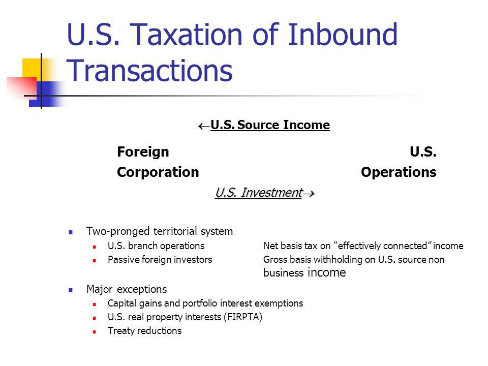 U.S. Taxation of Inbound Transactions