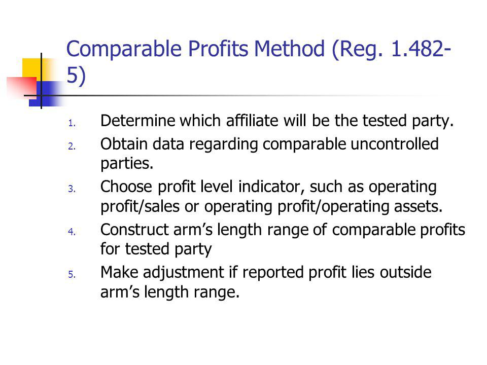 Comparable Profits Method (Reg. 1.482-5)
