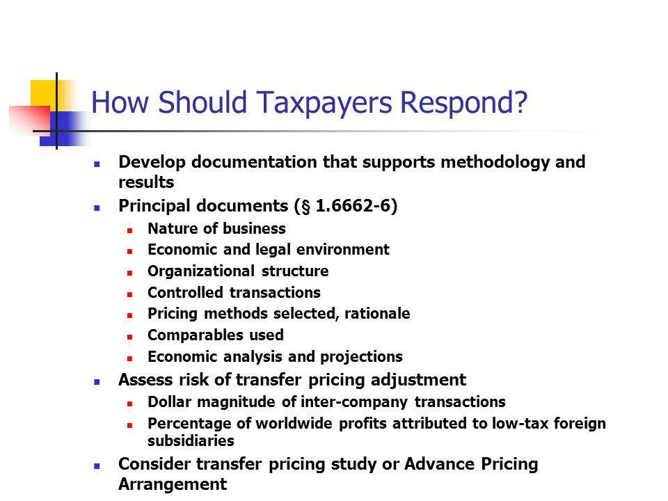 How Should Taxpayers Respond
