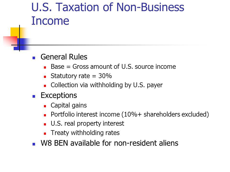 U.S. Taxation of Non-Business Income
