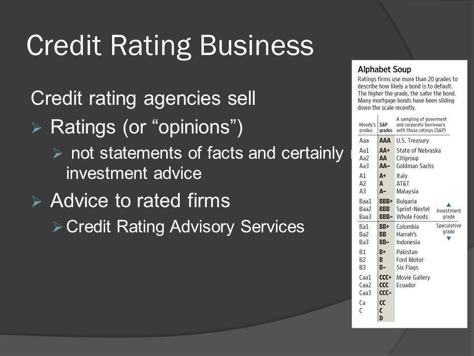 Credit Rating Business