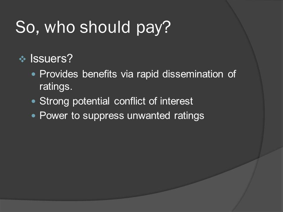 So, who should pay Issuers