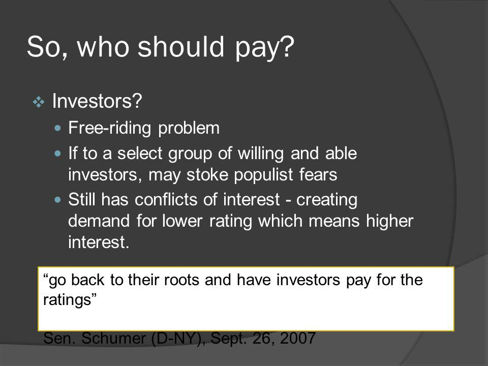 So, who should pay Investors Free-riding problem