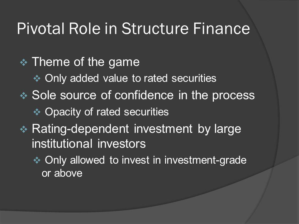 Pivotal Role in Structure Finance