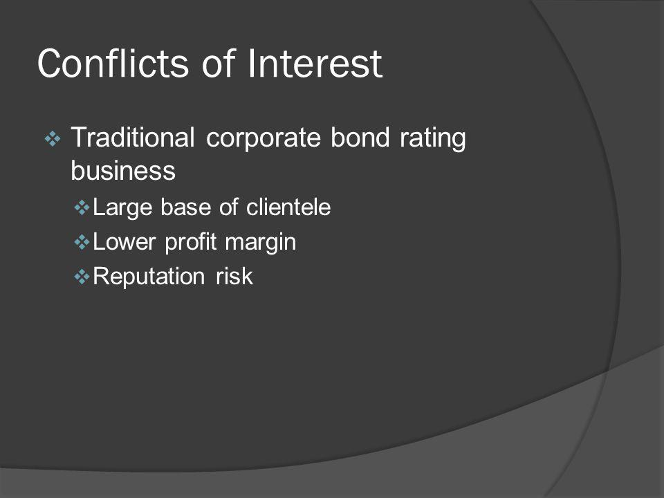 Conflicts of Interest Traditional corporate bond rating business