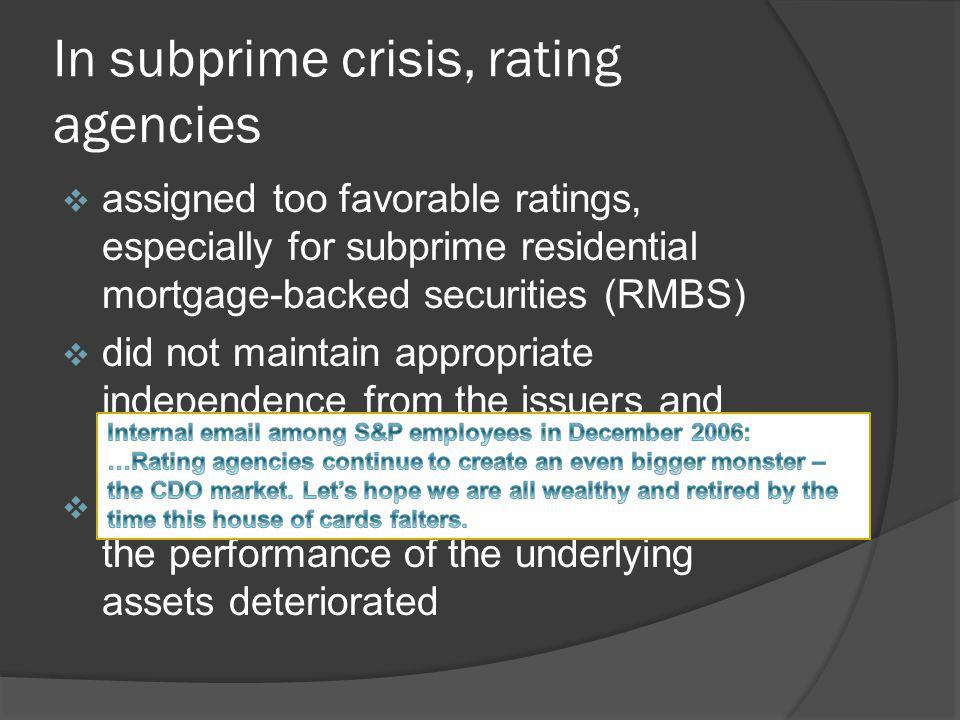 In subprime crisis, rating agencies