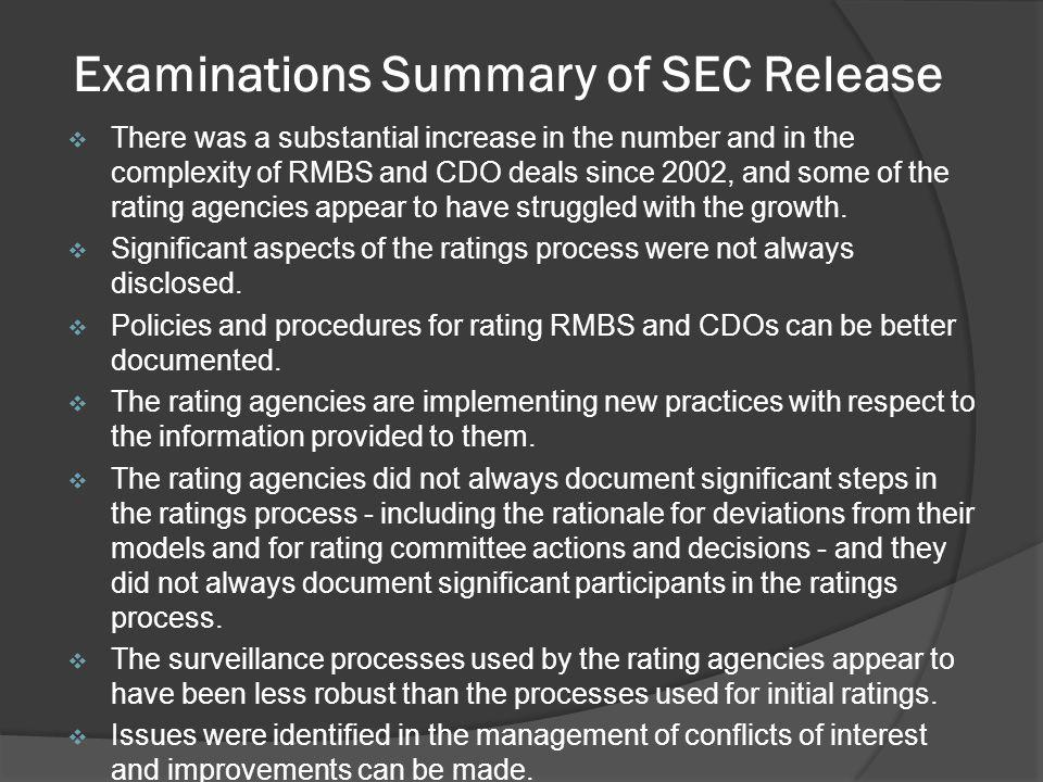Examinations Summary of SEC Release