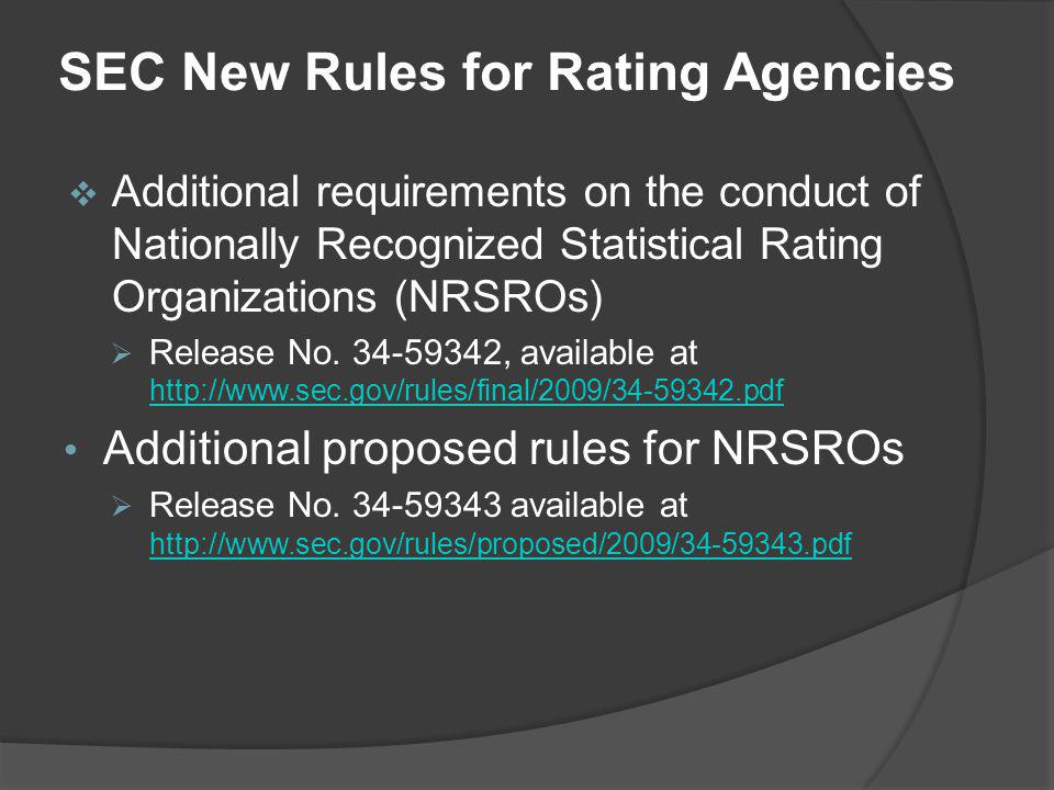 SEC New Rules for Rating Agencies