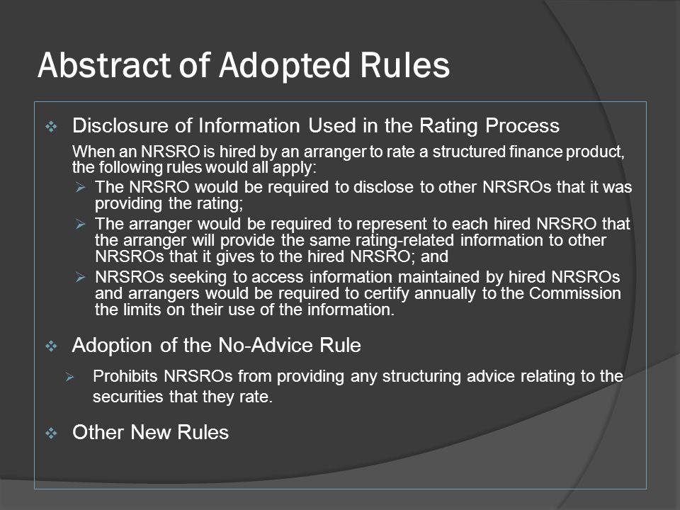 Abstract of Adopted Rules