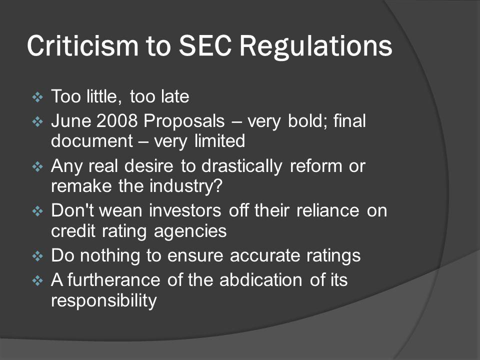 Criticism to SEC Regulations