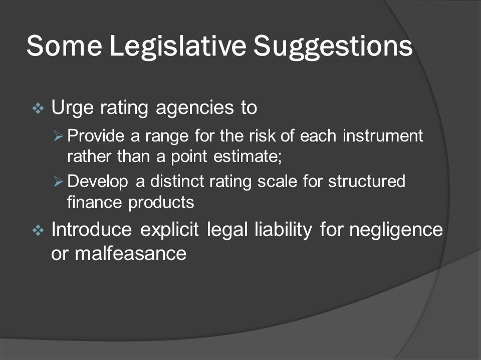 Some Legislative Suggestions