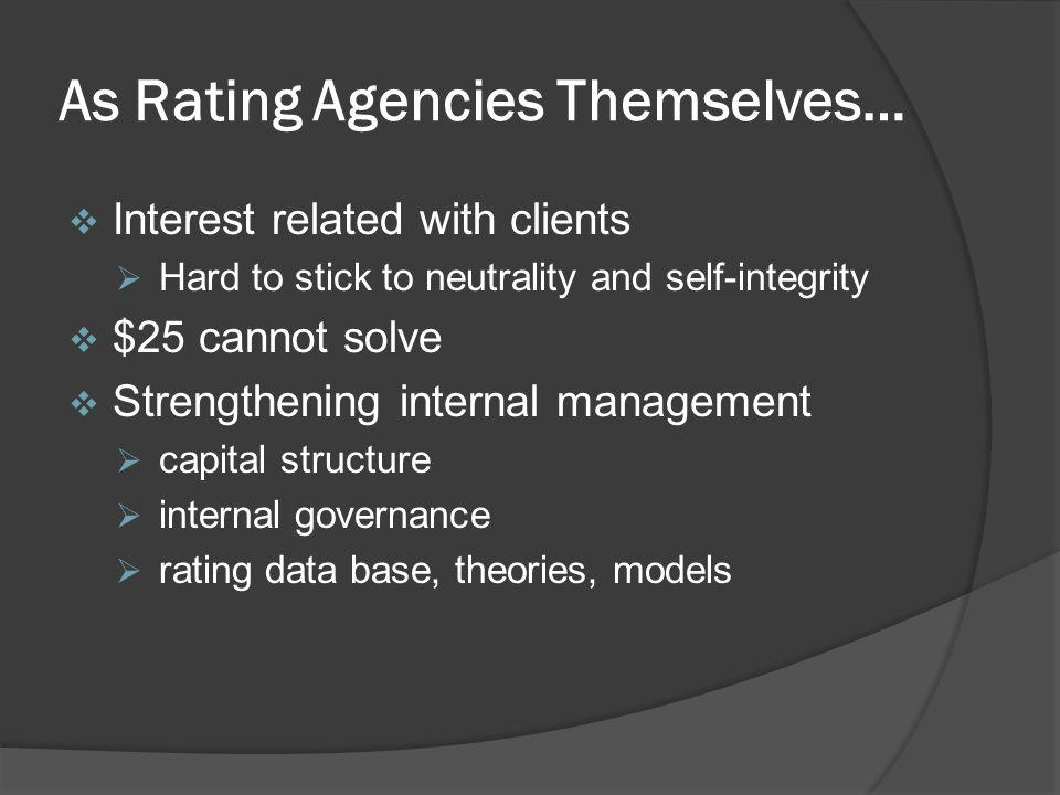As Rating Agencies Themselves…