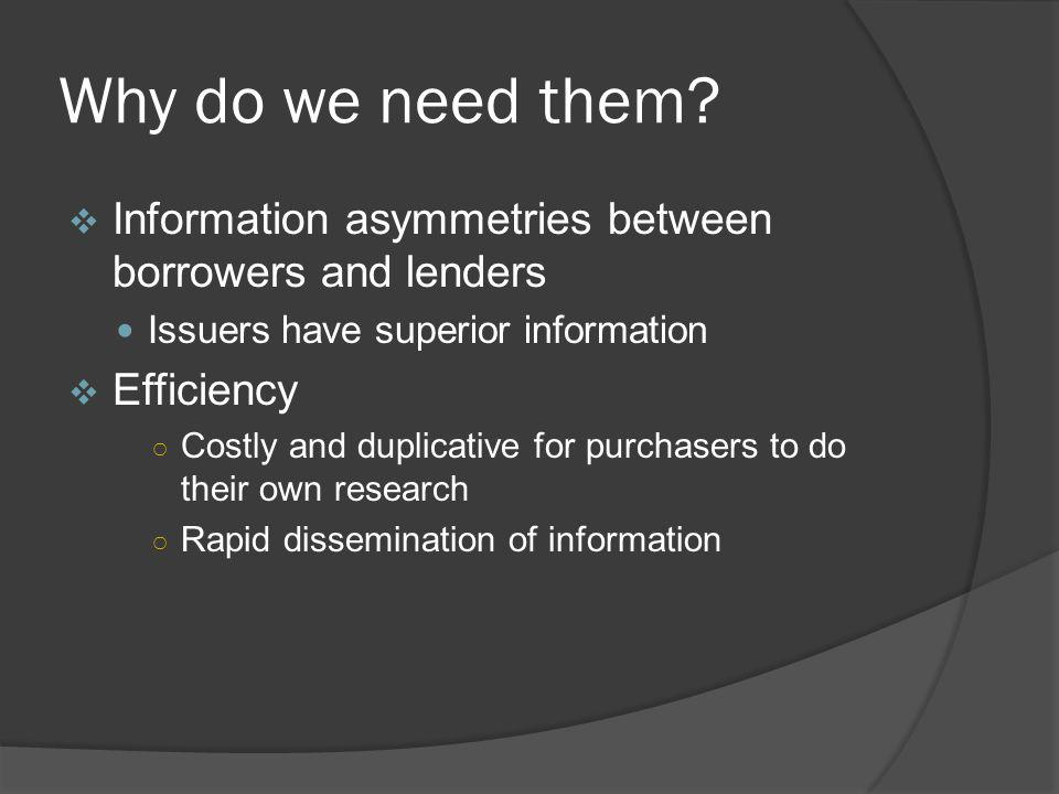 Why do we need them Information asymmetries between borrowers and lenders. Issuers have superior information.