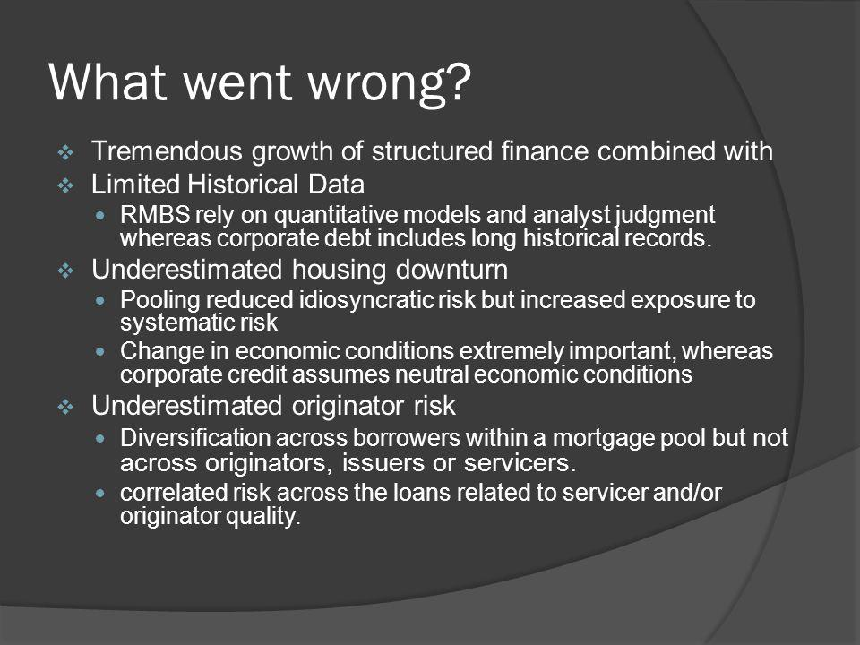 What went wrong Tremendous growth of structured finance combined with