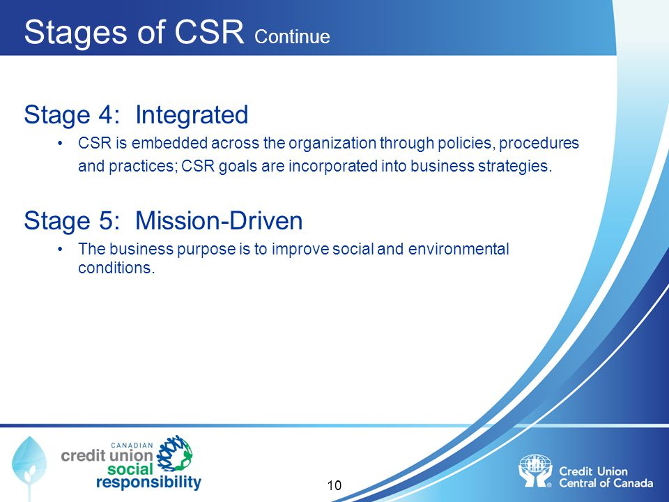 Stages of CSR Continue Stage 4: Integrated Stage 5: Mission-Driven
