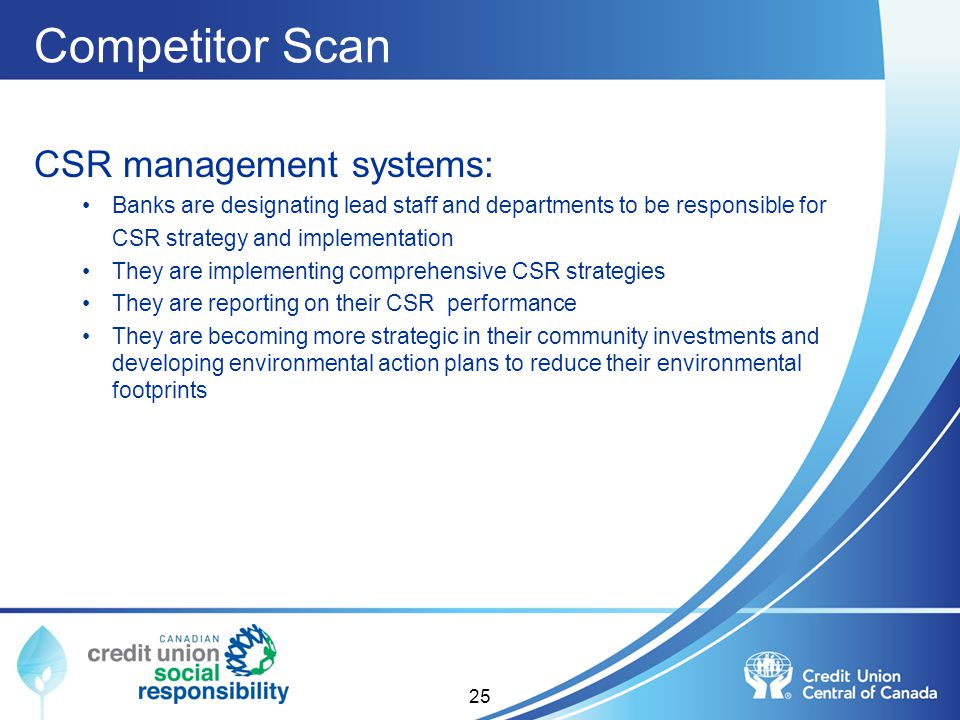 Competitor Scan CSR management systems:
