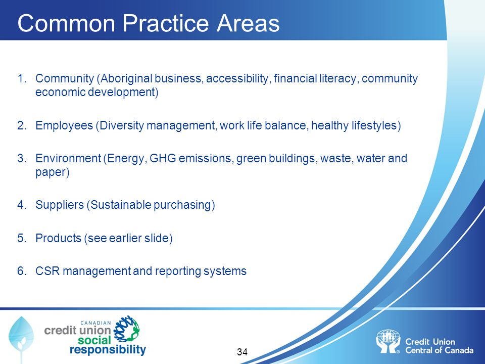 Common Practice Areas Community (Aboriginal business, accessibility, financial literacy, community economic development)