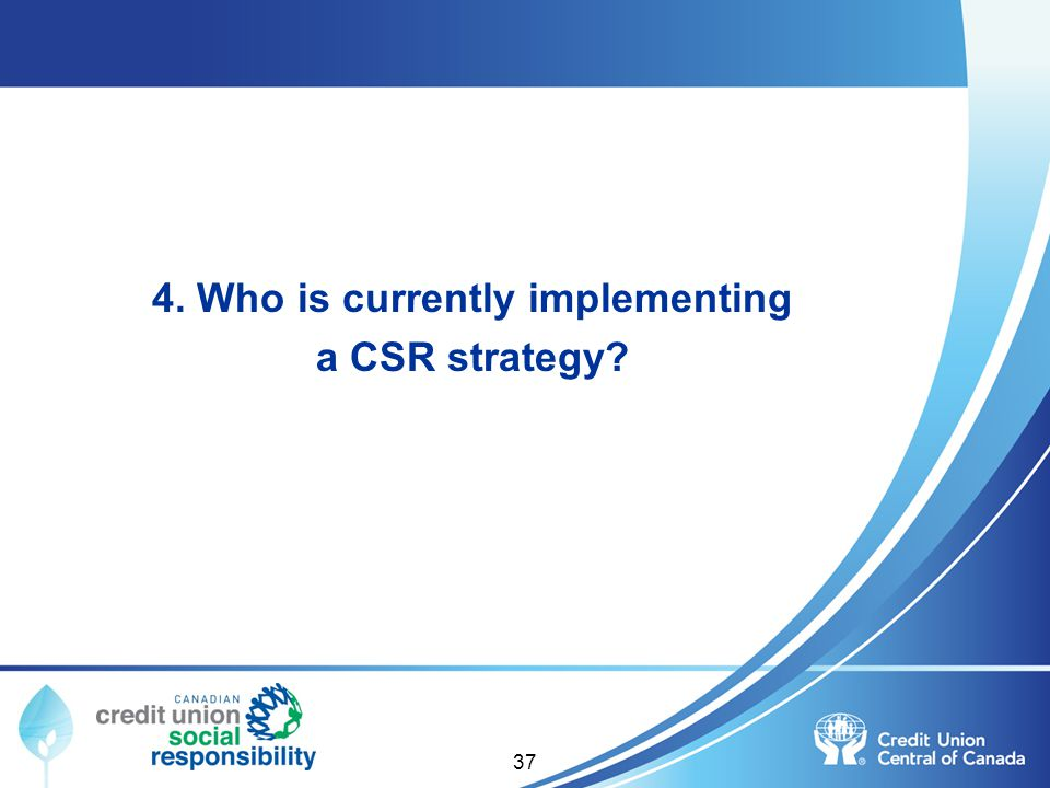 4. Who is currently implementing a CSR strategy