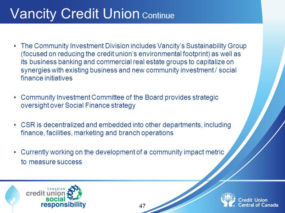 Vancity Credit Union Continue