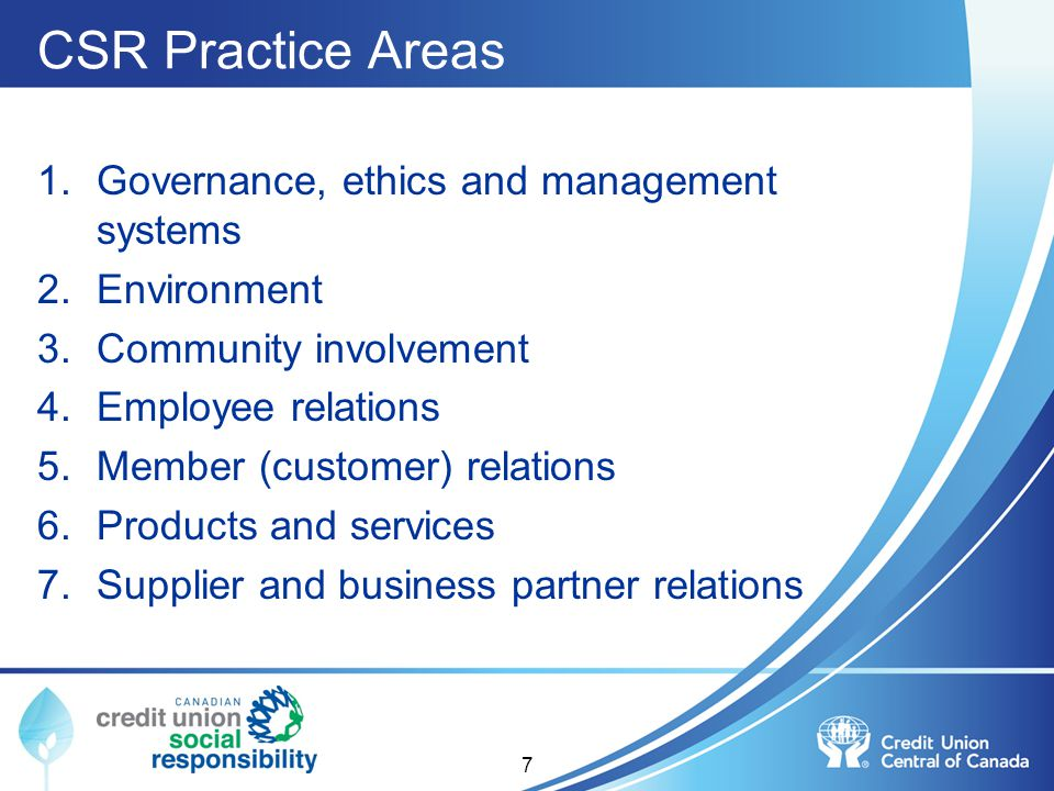 CSR Practice Areas Governance, ethics and management systems