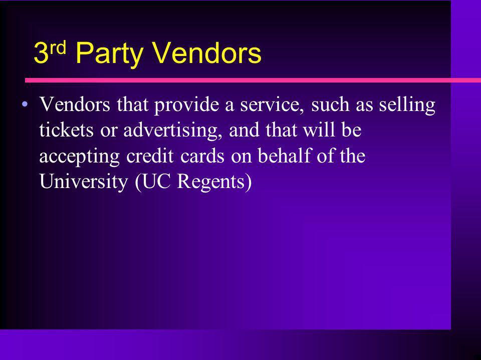 3rd Party Vendors