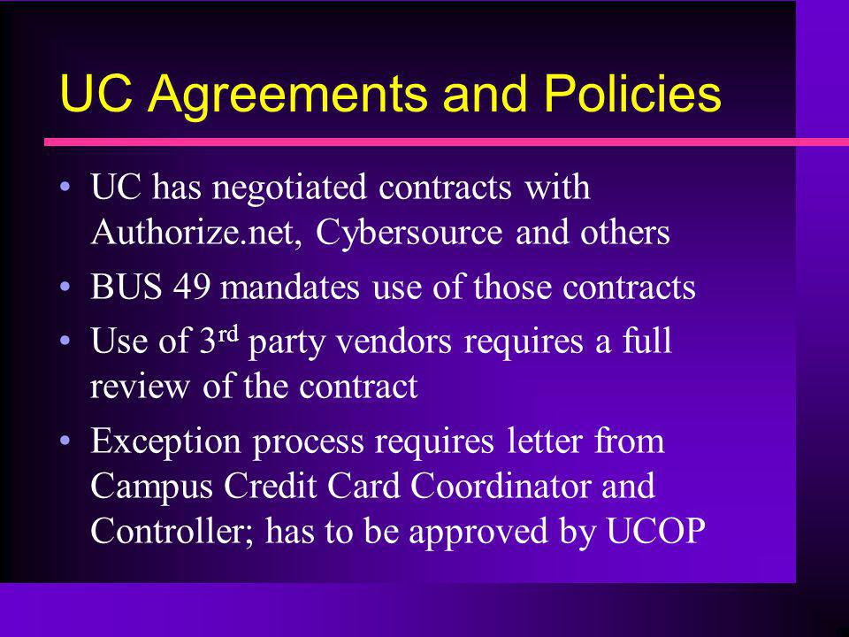 UC Agreements and Policies