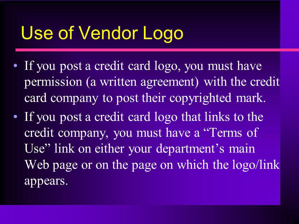 Use of Vendor Logo