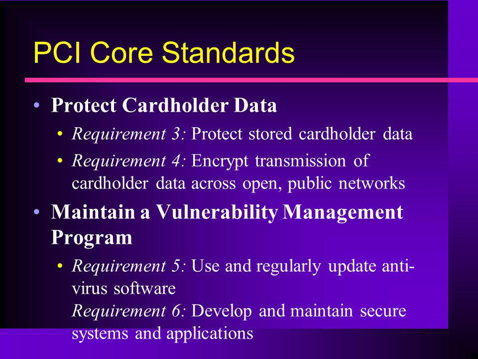 PCI Core Standards Protect Cardholder Data