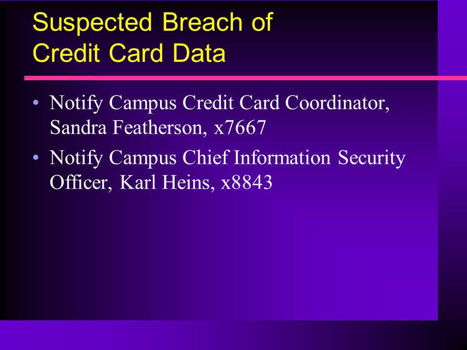 Suspected Breach of Credit Card Data