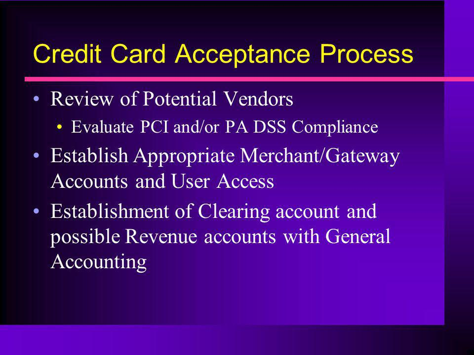 Credit Card Acceptance Process