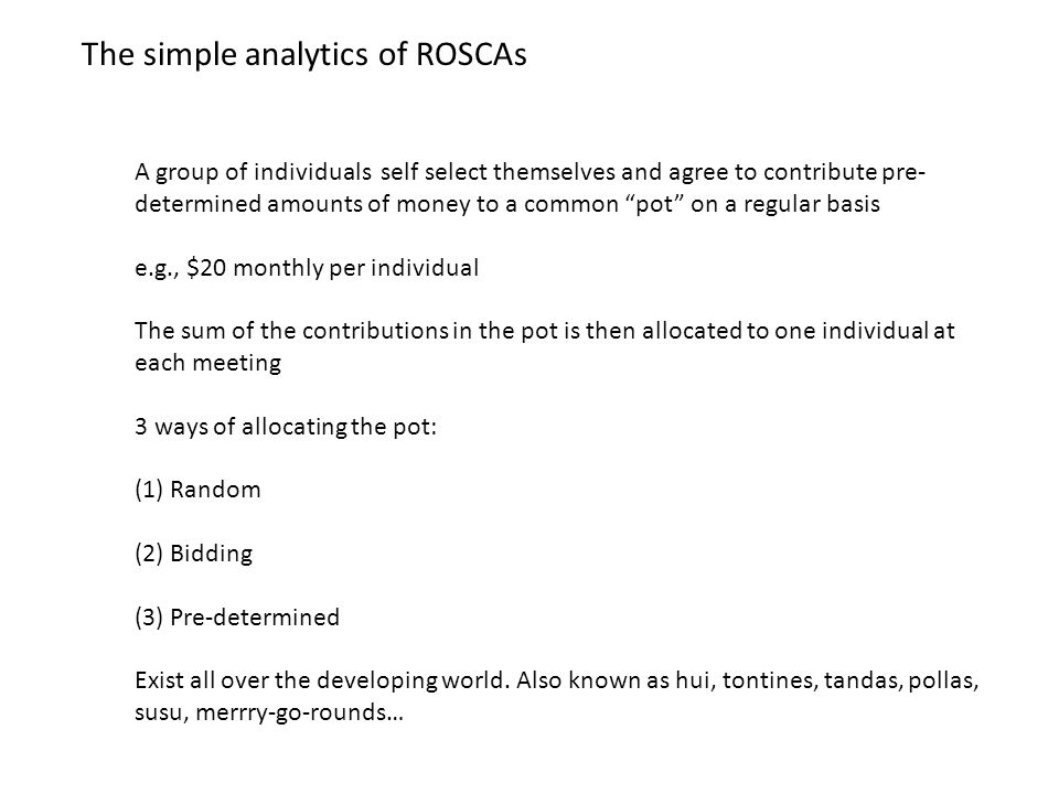 The simple analytics of ROSCAs