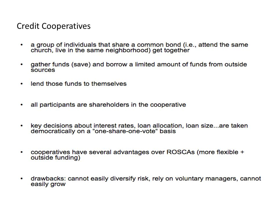 Credit Cooperatives