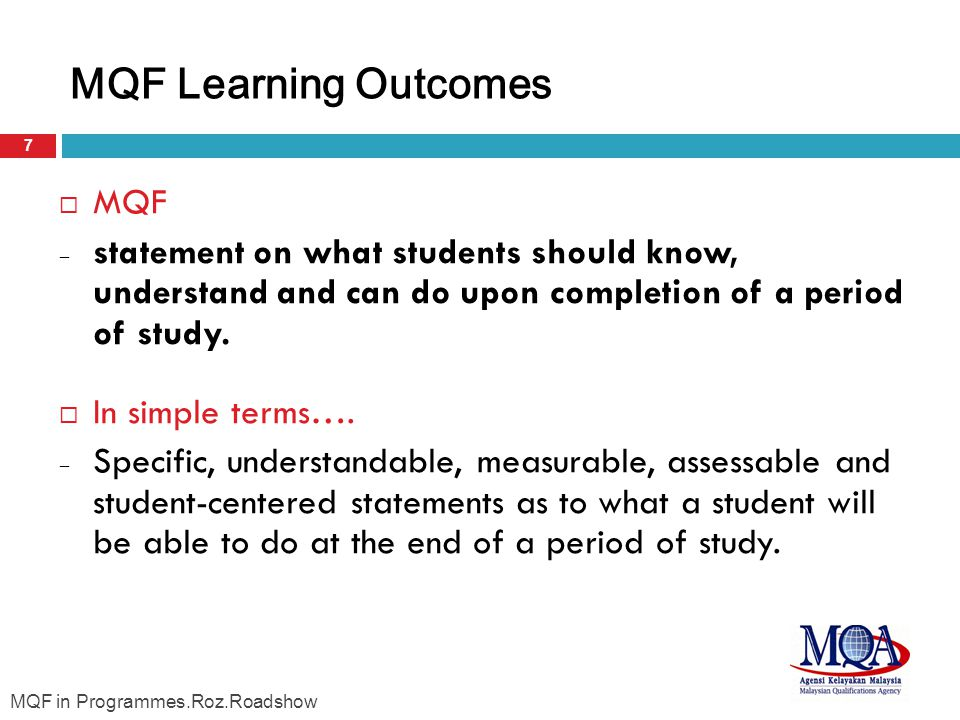 MQF Learning Outcomes MQF