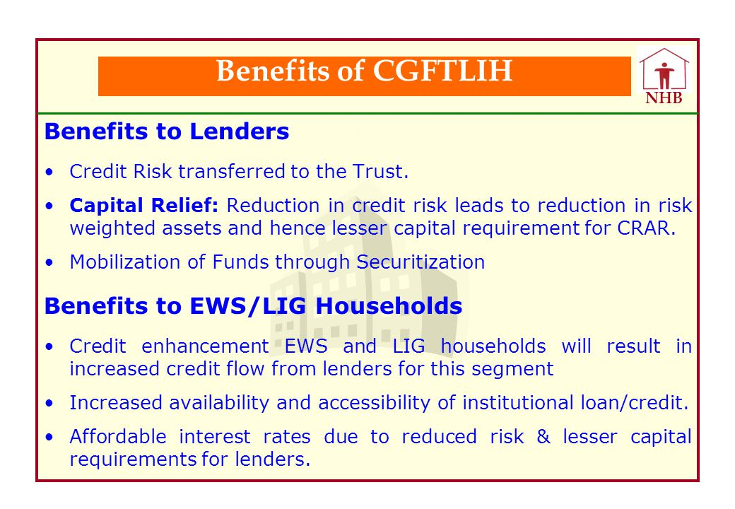Benefits of CGFTLIH Benefits to Lenders Benefits to EWS/LIG Households