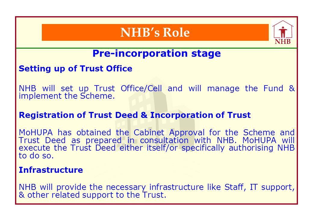 Pre-incorporation stage